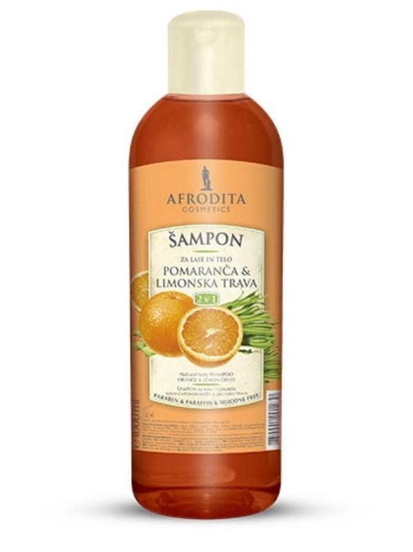 Šampon 1L za lase in telo Pomaranča in Limonska trava