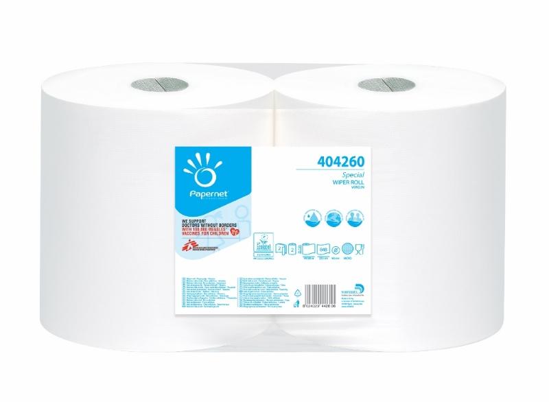 Brisače Jumbo bele 800 2/1 Papernet Ecolabel