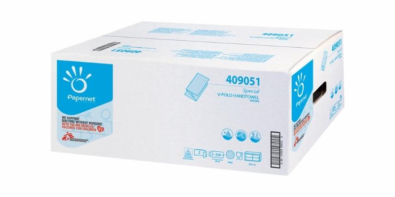 Brisače V bele 2-sl 24x21cm 250x15/1 Ecolabel