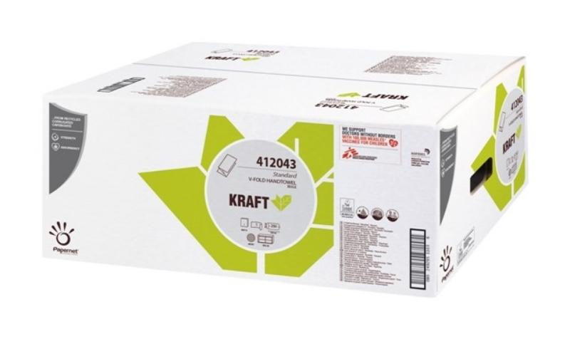 "Zložene brisače ""V"" 1-slojne, 250x20/1, Krafttech Ecolabel, Papernet"