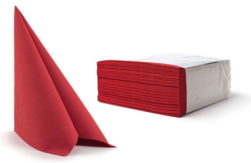 Serviete, 40x40cm, 16x50/1, 3-slojne, rdeče