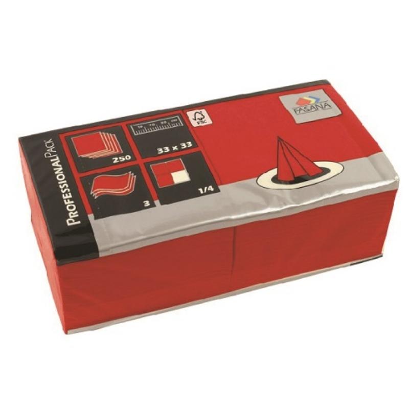 Serviete 33x33 3-sl. 4x250/1 Fasana jalapeno red