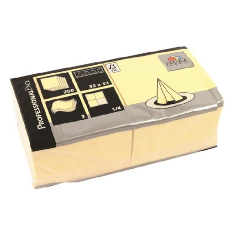 Serviete 33x33 3-sl. 4x250/1 Fasana buttercream