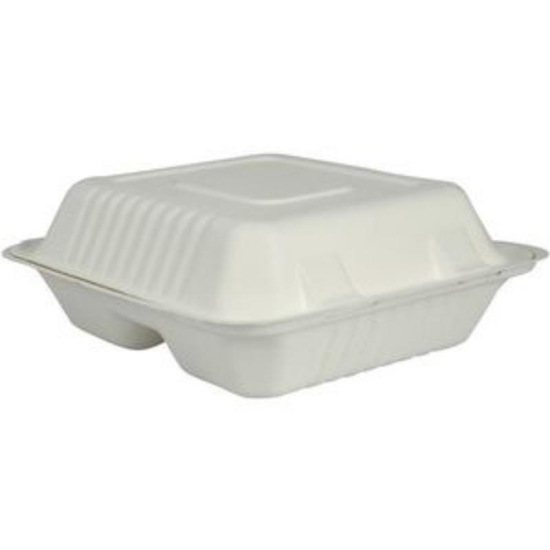 Embalaža za obroke kvadratna 3. prekati sladkorni trs 50/1 BIO