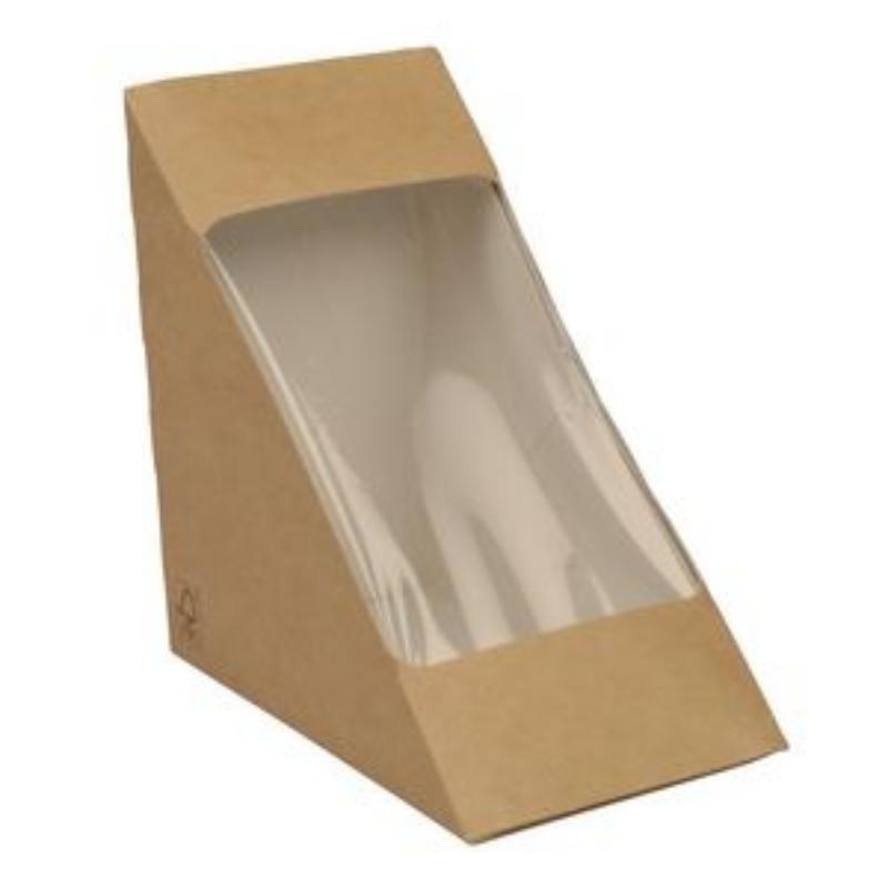 Embalaža za prenos hrane z okencem iz papirja, trikotna