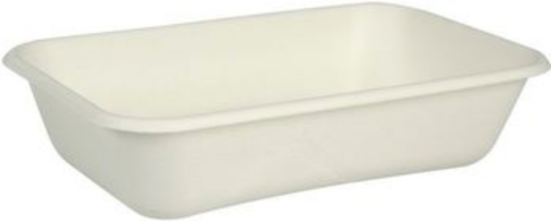 Posoda iz sladkornega trsa BIO, možna kombinacija z biorazgradljivim pokrovom, pravokotna, 950 ml