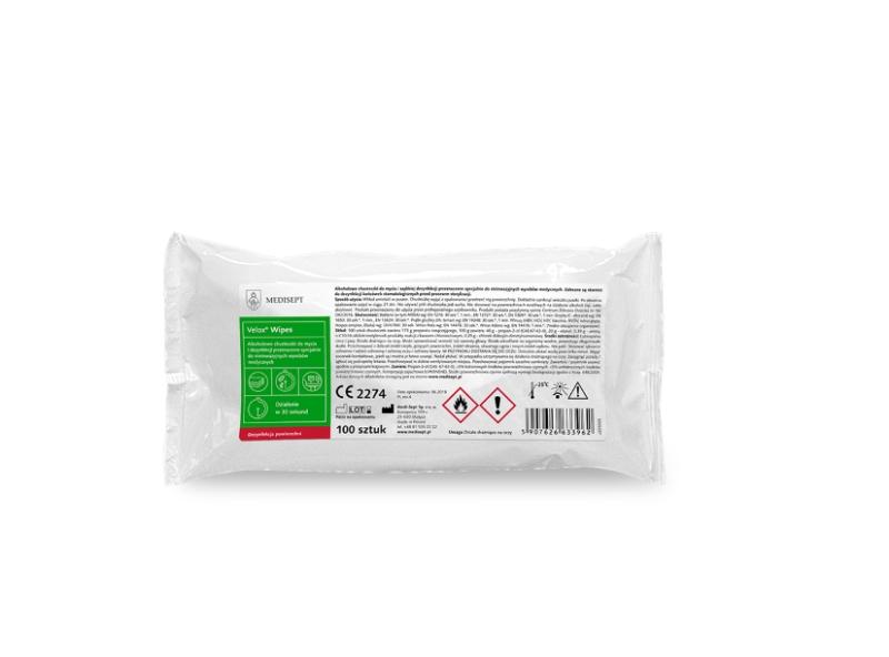 Razkužilni robčki za površine Velox Wipes 100/1 polnilo, Medisept