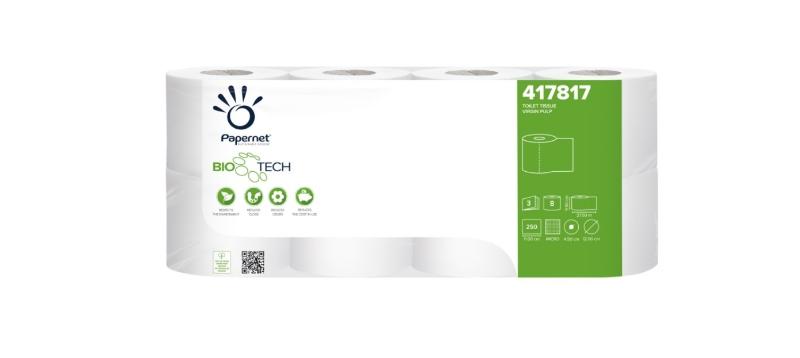 Toaletni papir Biotech, 3-slojni, 7x8/1, Ecolabel, Papernet